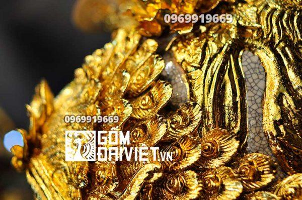 Bình hút tài lộc đắp nổi công đào mạ vàng 24K
