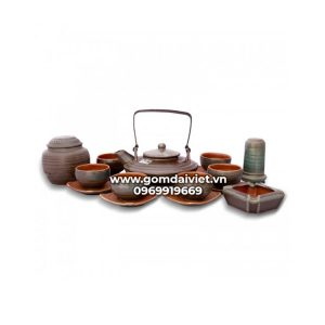 Bộ trà dáng đĩa bay men rêu