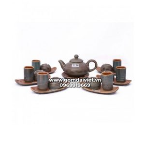 Bộ trà đạo men rêu cổ