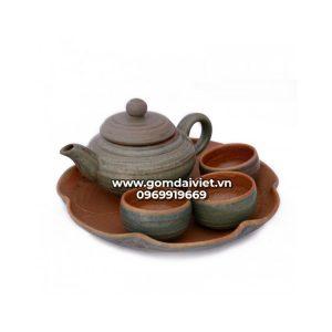 Bộ trà đĩa lá sen màu rêu