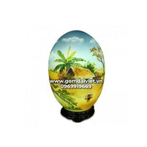 Đèn thấu quang hình trứng vẽ cảnh đồng quê