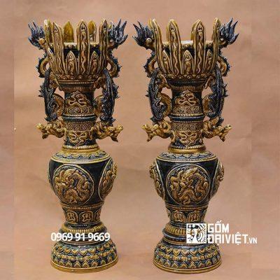 Đôi chân đèn thờ nhà Mạc 45cm Bát Tràng