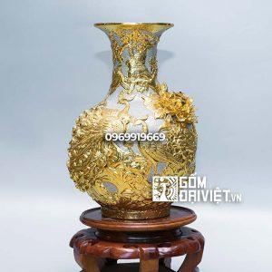 Bình gốm sứ phong thủy Tỏi công đào đắp nổi men rạn dát vàng 40cm