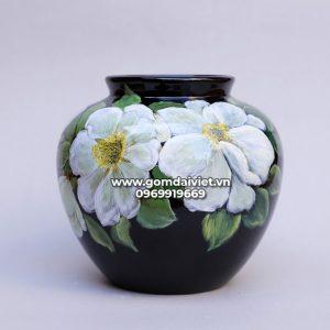 Vò lọ hoa tròn sơn mài 3D