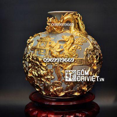 Bình hút tài lộc cá chép hóa rồng dát vàng đắp nổi Bát Tràng