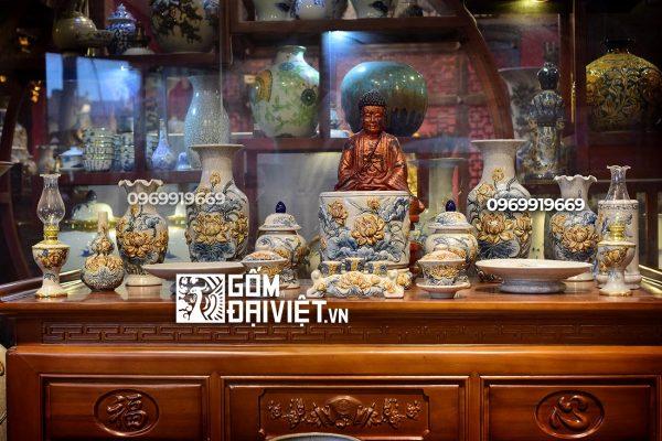 Bộ bàn thờ đồ thờ đắp nổi men rạn hoa sen thờ phật Bát Tràng