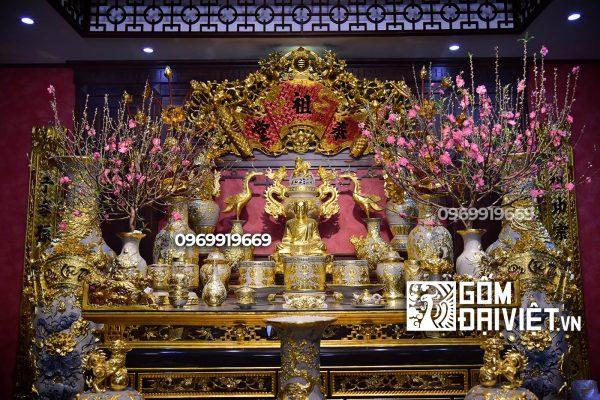 Bộ đồ thờ cúng Bát Tràng men rạn đắp nổi dát vàng
