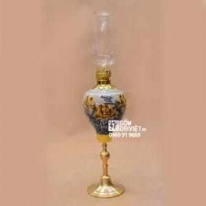 Đèn thờ dầu bàn thờ sen đắp nổi chân đồng Bát Tràng