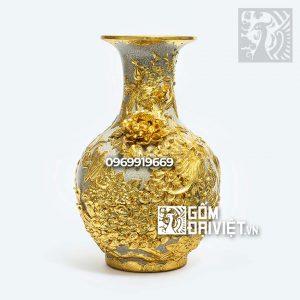 Bình gốm phong thủy tỏi công đào đắp nổi dát vàng 52cm Bát Tràng