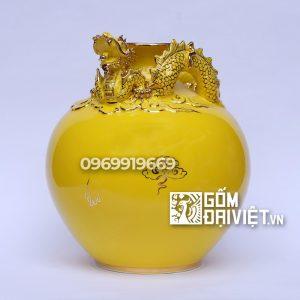 Bình hút tài lộc rồng nổi màu vàng ( Mệnh Thổ )