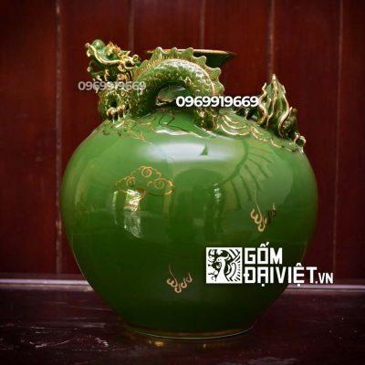 Bình hút tài lộc cho người mệnh mộc rồng nổi màu xanh lục