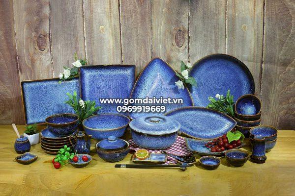 Bộ bát đĩa men xanh đá hỏa biến Bát Tràng