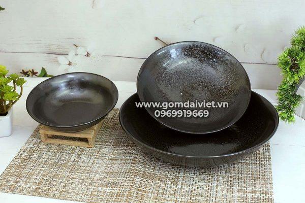 Đĩa sứ men đen hỏa biến 3 size Bát Tràng