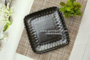 Bát đĩa Bát Tràng Đĩa vuông men đen hỏa biến