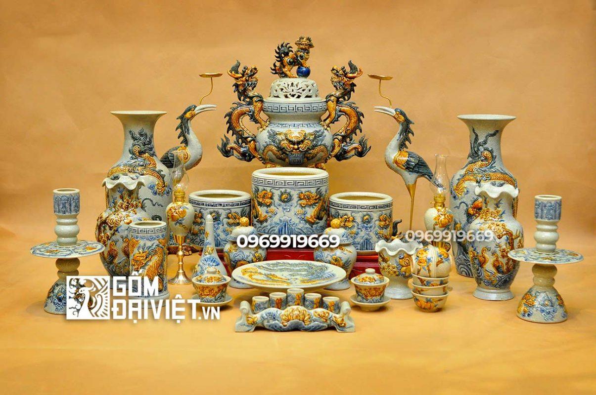 Bộ đồ thờ bát tràng bằng gốm sứ đầy đủ