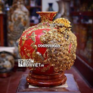 Bình hút tài lộc chim công vẽ vàng màu đỏ mệnh hỏa 35cm