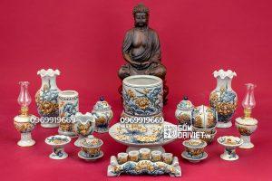 Bộ đồ thờ cúng Phật đắp nổi sen men rạn S4