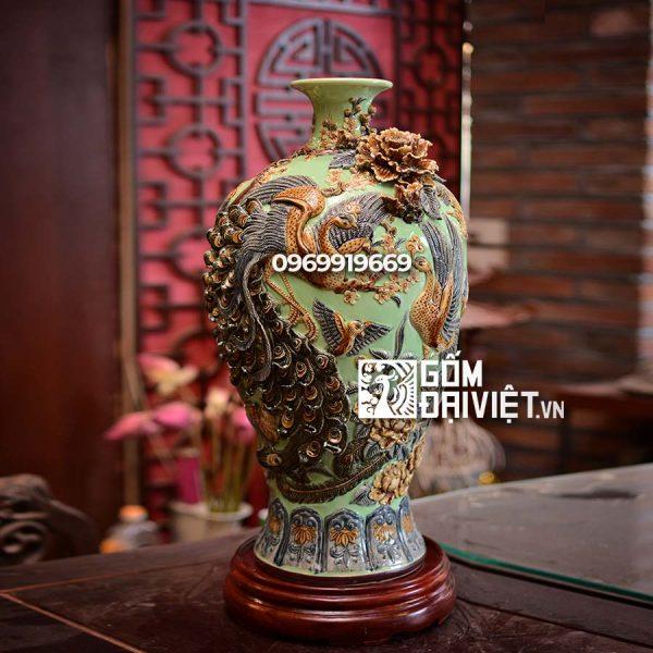 Bình gốm phong thủy mai bình chim công đắp nổi màu xanh cốm