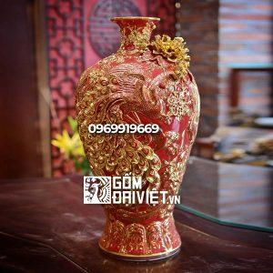 Bình gốm phong thủy mai bình tích lộc phượng vẽ vàng nổi màu đỏ