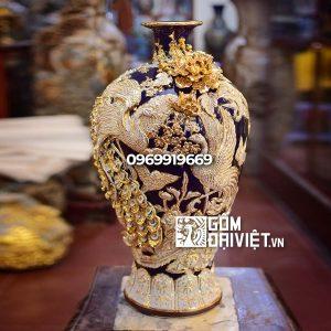 Bình gốm phong thủy mai bình tích lộc phượng vẽ vàng màu xanh đen
