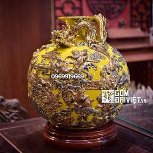 Bình hút tài lộc cá chép hóa rồng vẽ vàng màu vàng mệnh thổ 35cm