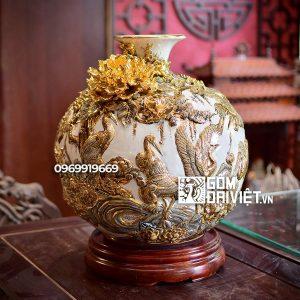 Bình hút tài lộc tùng hạc diên niên vẽ vàng màu trắng 35cm