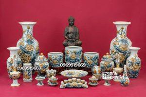 Bộ đồ thờ cúng Phật men rạn đắp nổi sen cho bàn thờ lớn