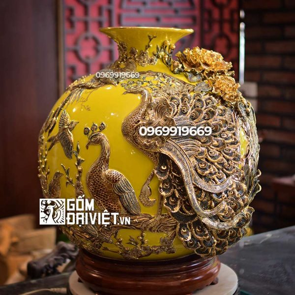 Bình hút tài lộc bách điểu vẽ vàng màu vàng đắp nổi 45cm