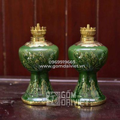 Đèn dầu bàn thờ men ngọc lục bảo đắp sen bọc đồng 20cm