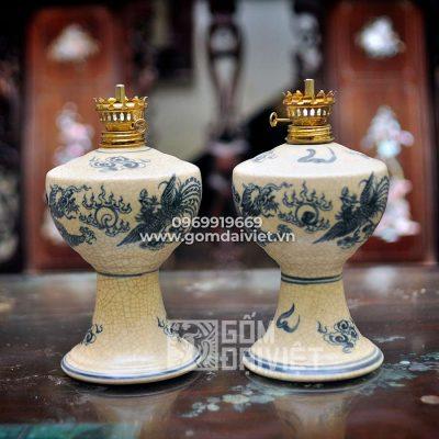 Đèn dầu bàn thờ men rạn cổ rồng phượng 18cm