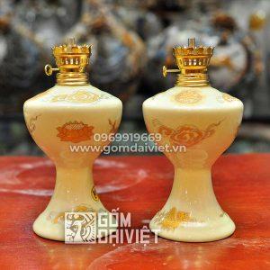 Đèn dầu bàn thờ men vàng ánh kim 18cm