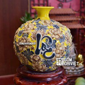Bình hút tài lộc Phúc Lộc Thọ màu vàng đắp nổi ngàn hoa 35cm