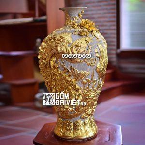 Quà tân gia mai bình tích lộc công danh phú quý dát vàng men rạn 52cm