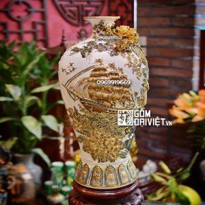 Quà tân gia Mai Bình tích lộc Thuận buồm xuôi gió vẽ vàng 60cm