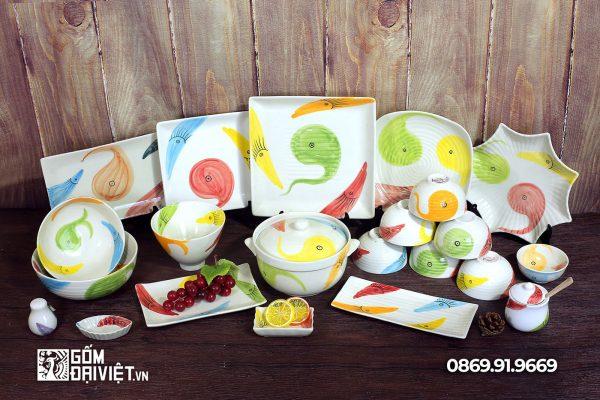 Bộ bát đĩa đồ ăn Bát Tràng hoa văn cá 7 màu