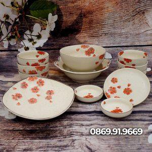Bộ đồ ăn bát đĩa Bát Tràng men tiêu vẽ hoa đào đỏ