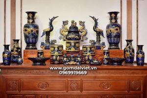Bộ đồ thờ Bát Tràng đầy đủ men Thúy Lam cao cấp
