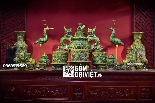 Bộ đồ thờ Bát Tràng gốm sứ Men Ngọc lục bảo xanh đầy đủ S3