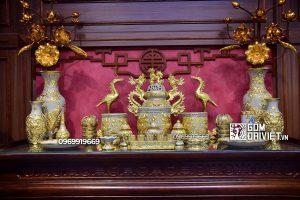 Bộ đồ thờ cúng Bát Tràng gia tiên men rạn dát vàng đắp nổi