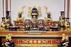 Bộ đồ thờ cúng men Thúy Lam dát vàng cao cấp đầy đủ