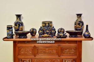 Bộ đồ thờ cúng thổ công Bát Tràng men Thúy Lam cao cấp
