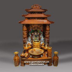 Bộ đồ thờ thần tài men Hoàng Thổ cao cấp Bát Tràng