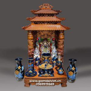 Bộ đồ thờ thần tài men Thúy Lam cao cấp Bát Tràng