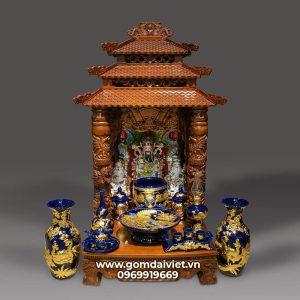 Bộ đồ thờ thần tài men Thúy Lam dát vàng cao cấp Bát Tràng