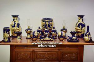 Bộ đồ thờ thổ công men Thúy Lam cao cấp dát vàng Bát Tràng