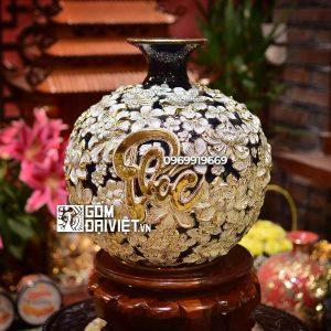 Bình hút tài lộc đắp nổi hoa Phúc Lộc Thọ vẽ vàng 35cm nền đen