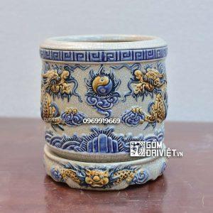 Bát hương men rạn Bát Tràng đắp nổi rồng chầu nguyệt 20cm
