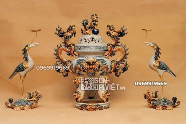 Bộ đỉnh hạc gốm sứ men rạn đắp nổi cao cấp Bát Tràng 50cm