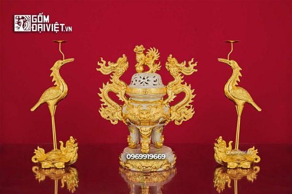 Bộ đỉnh hạc thờ bằng sứ cao cấp men rạn dát vàng Bát Tràng 50cm
