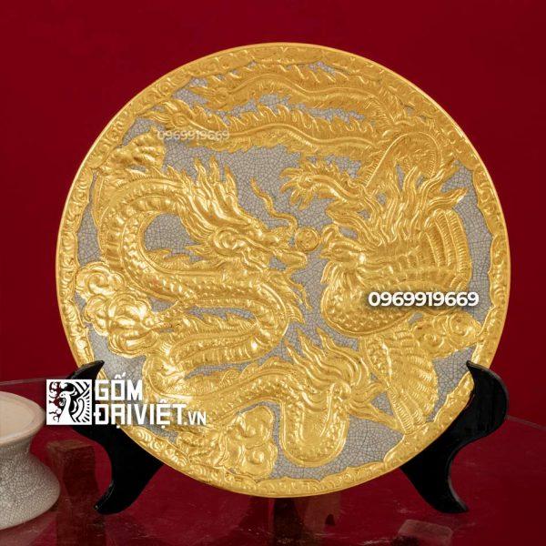 Mâm bồng men rạn đắp rồng phượng dát vàng cao cấp phi 30